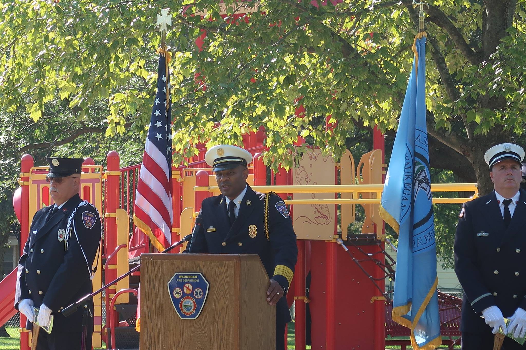 Fire Chief Giving a Speech at a Podium