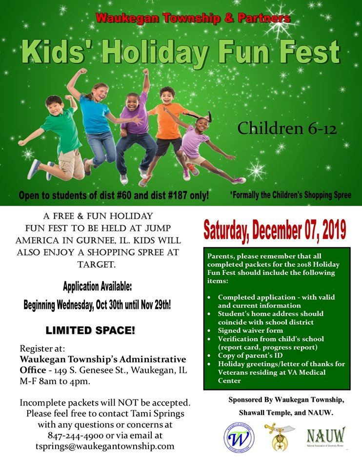 Kids Holiday Fun Fest sponsored by Waukegan Township