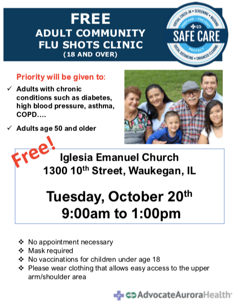 Free Adult Flu Shots at Iglesia Emanuel Church