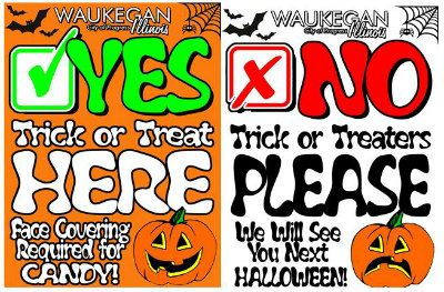 waukegan trick or treat or no trick or treat flyers